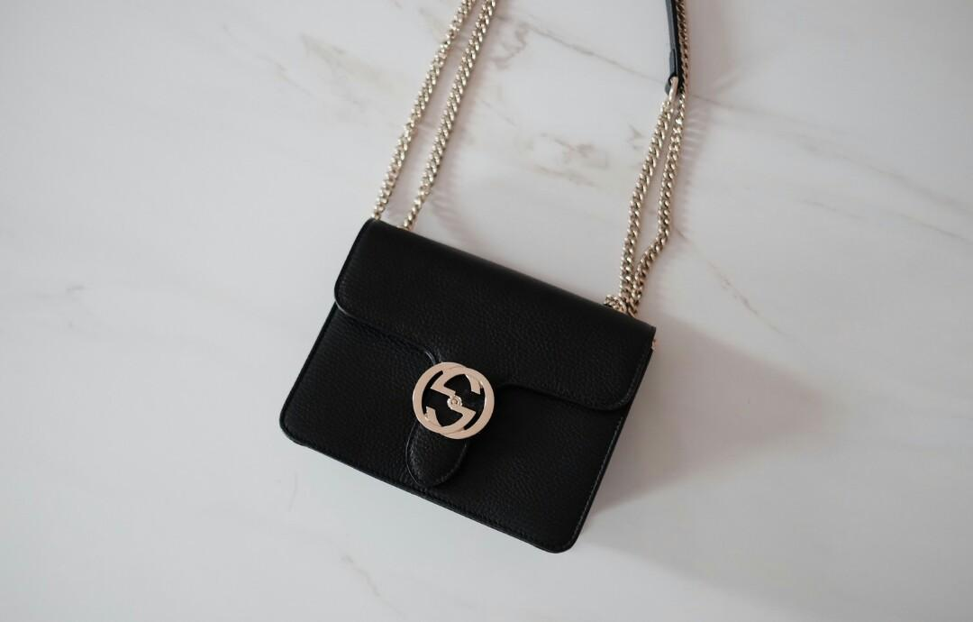 Ready Gucci Interlock Small Black (bisa di sling & shoulder, dalemnya spacious