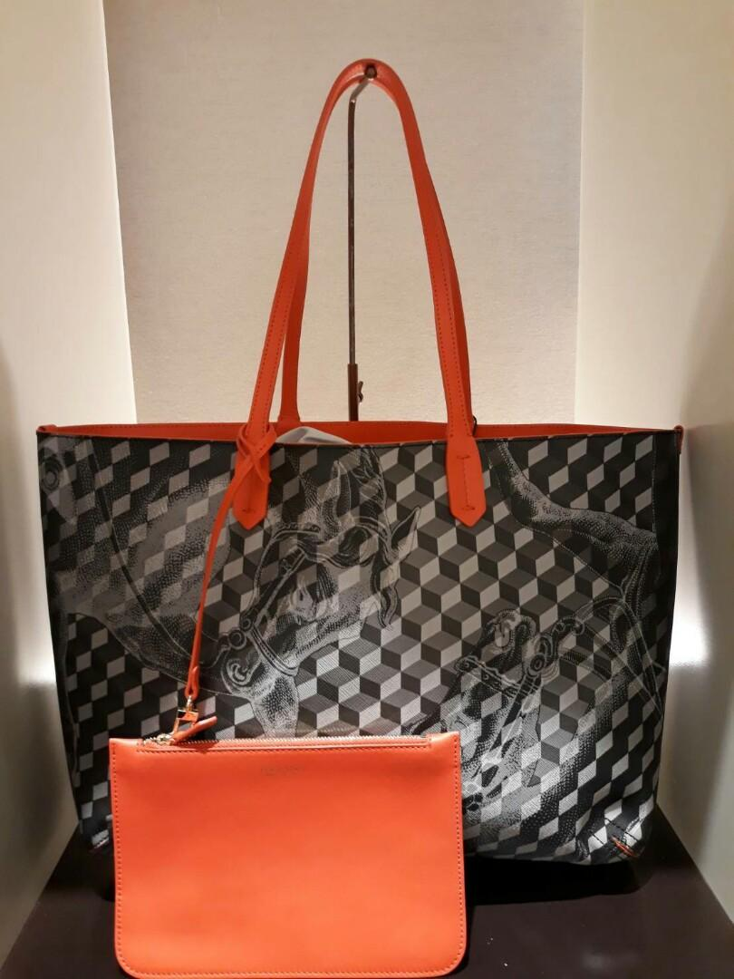 Ready Loup Noir Leather Lined Shopper Bag with leather pouch Black Coral