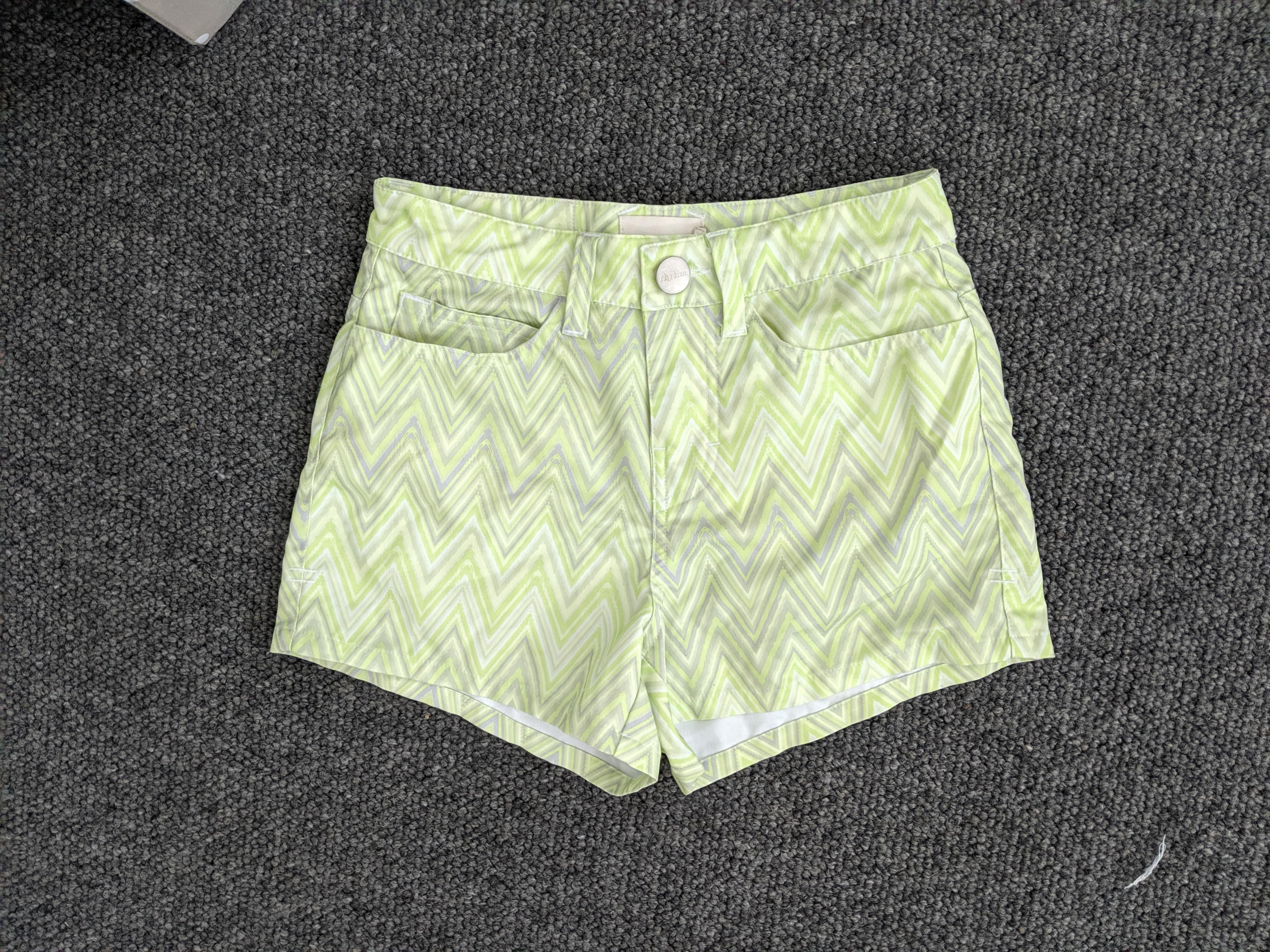 Rhythm - lime green and white chevron patterned short shorts - AU 6