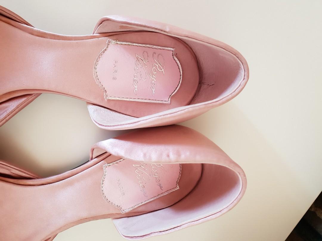 ROGER VIVIER PARIS Strass Chips Pink Silk/Leather Ballerinas size 39