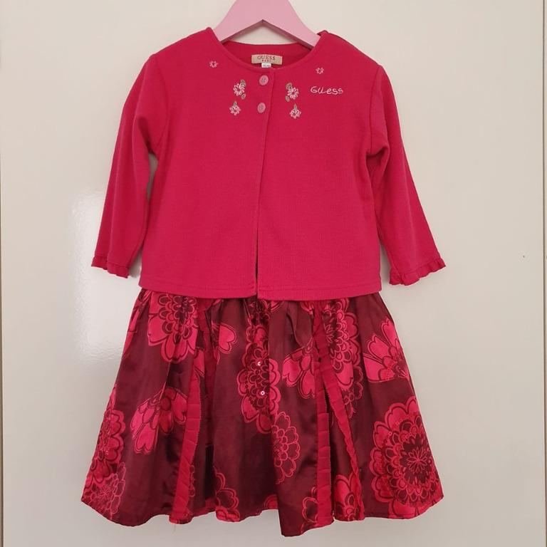 Size 2 - 3 Preloved party outfit GUESS cardigan Autograph dress Raspberry