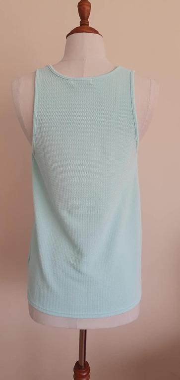 Size S fits ladies 10 Vgc Valleygirl ripple sleeveless top light aqua