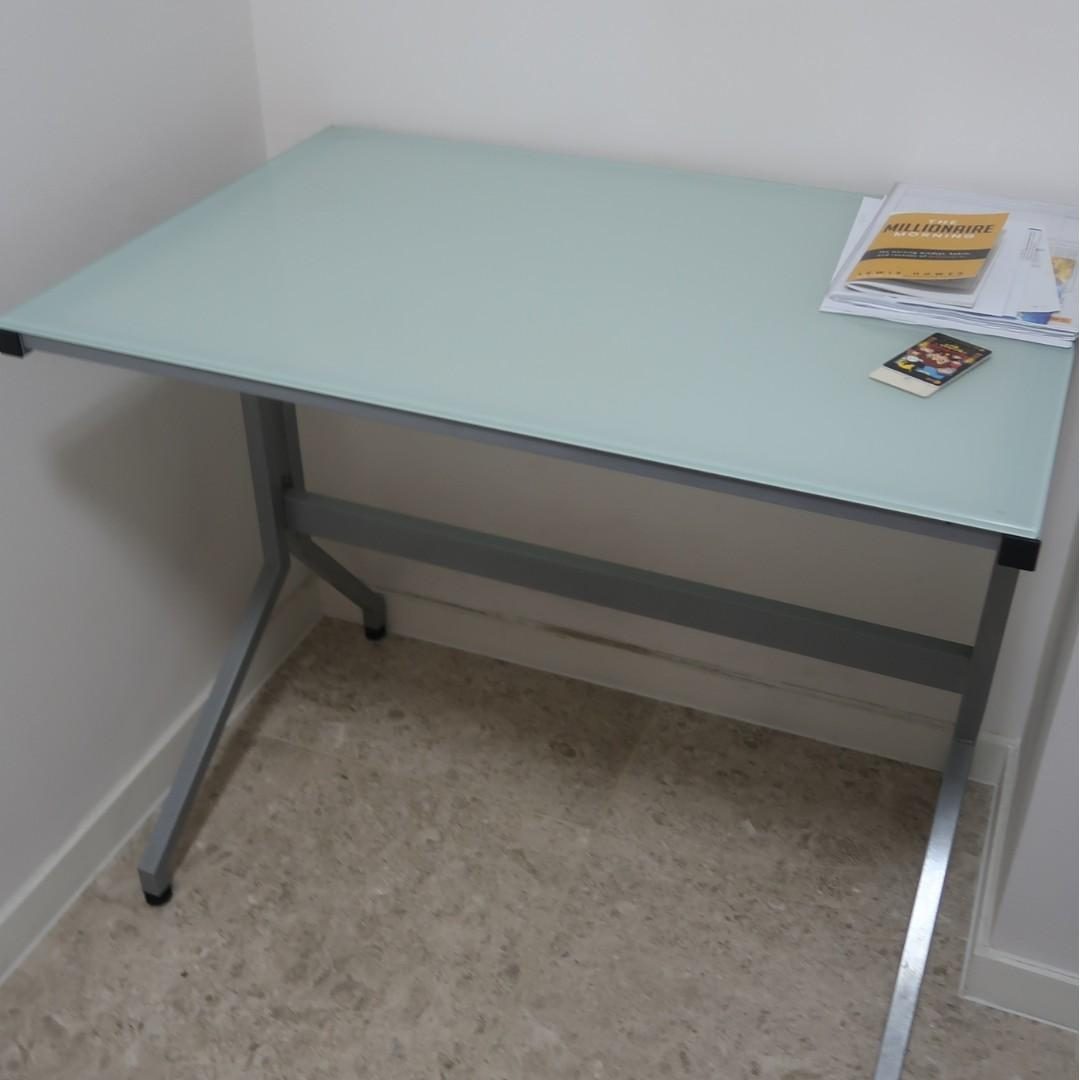 Study Table Desk White Glass Vhive Furniture Tables Chairs On Carousell