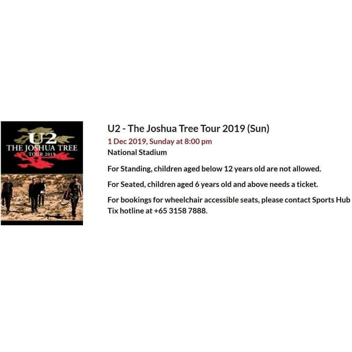 Ticket konser U2 Singapore. 1 Dec 2019
