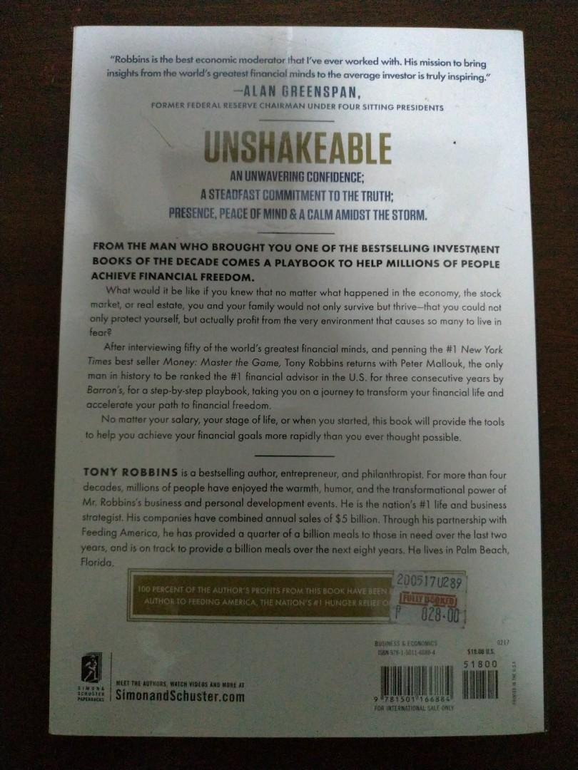 Unshakeable Your Financial Freedom Playbook Creating Peace of Mind In A World of Volatility by Tony Robbins