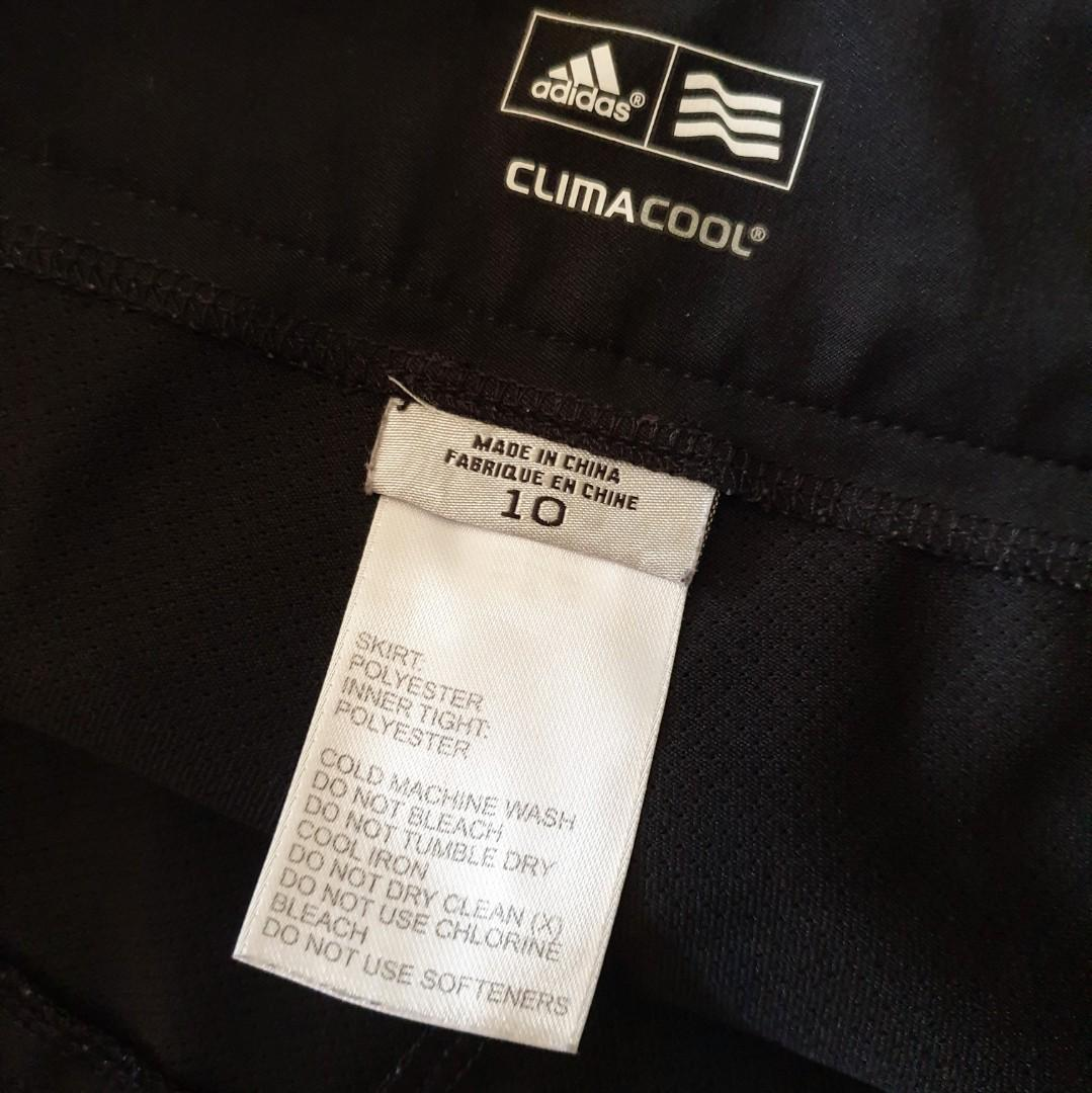 Women's size 10 'ADIDAS' Black climacool tennis skirt with pockets - AS NEW