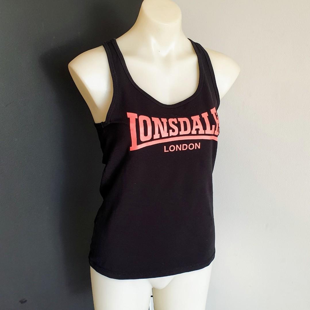 Women's size 10 'LONSDALE LONDON' Black racerback activewear tank top