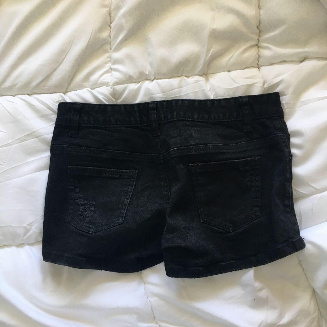 X-TM black denim shorts