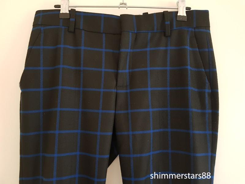 Zara checked black and blue trousers pants size small, RRP$89.95