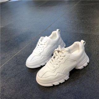 韓國🇰🇷連線代購款 小羊皮質感增高杏色老爹鞋