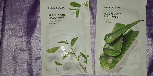 Nature Republic Mask Sheet grean tea dan aloe vera