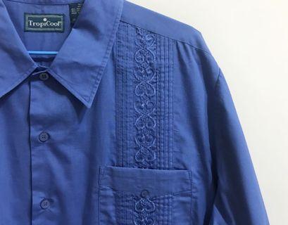 古巴襯衫 法國工裝藍刺繡vintage外套