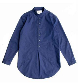 Machismo #立領PIMA棉長版襯衫 #藍色L號