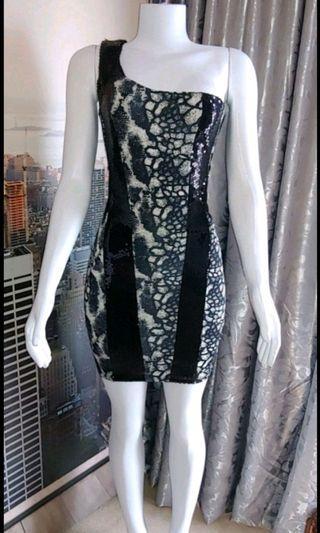 Club wear sequin cutout mini dress