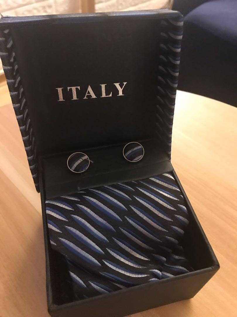意大利100%真絲領帶配袖口褸一套 全新