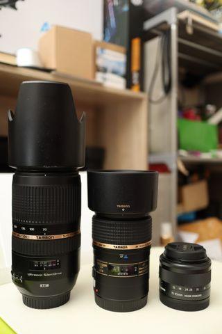 3 lensa canon 70-300mm vc 90mm f2.8 macro 15-45mm stm