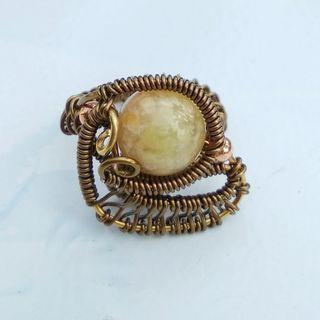 Jasper Ring Wire Wrap Gemstone Ring Artisan Handmade Finger Craft Jewelry