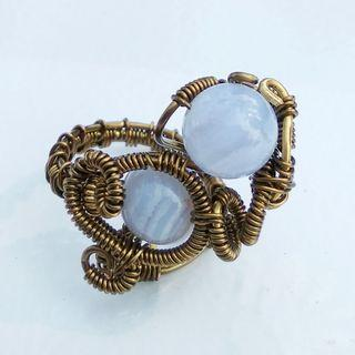 Lace Agates Ring Wire Wrap Gemstone Ring Artisan Handmade Finger Craft Jewelry