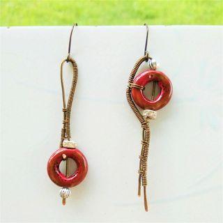 Red Ceramic Earrings Mismatch Earrings Asymmetric Earrings Wire Wrap Art Jewelry