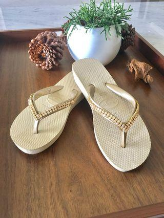 Havianas 限量金色帶水鑽夾腳拖鞋