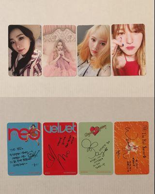 Red Velvet Seulgi, Wendy, Joy & Yeri Photocards