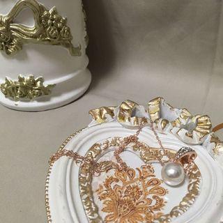 珍珠垂墜碎鑽項鍊 韓系歐美 925純銀 店面出清