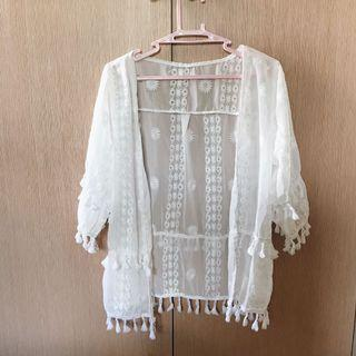 波希米亞風白色透膚外套