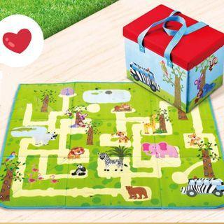 歡樂動物園 野餐墊收納箱 玩具收納箱