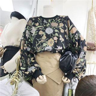 「R」圓領短版立體花朵衛衣(預購)