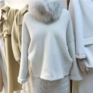 「R」v領水貂毛寬鬆針織毛線上衣(預購)