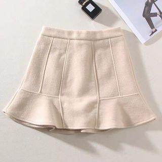 荷葉 魚尾 毛呢褲裙 米杏色 挺版 韓系 拉鍊短裙