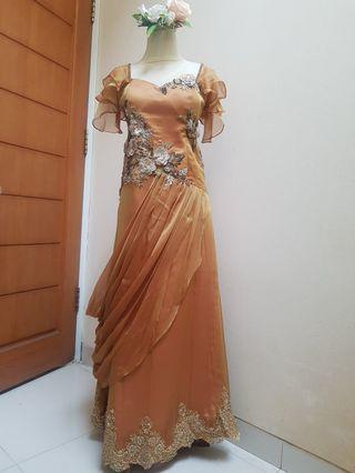 Dress pesta emas / gold chiffon