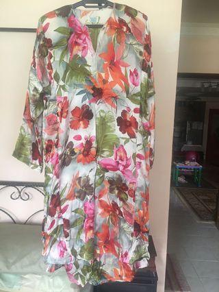 Baju Kurung Floral Satin