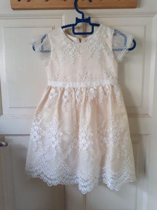 Beautiful Embroidered Flower Girl Princess Dress