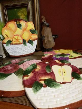 Handpaint Fruits design ceramic wall hanging for deco x 4pcs