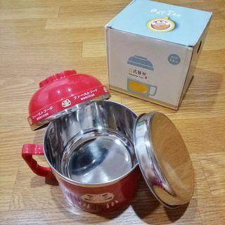 全新 日式不鏽鋼 餐杯 餐碗 泡麵碗 隔熱防燙耐摔 紅色 一組三件