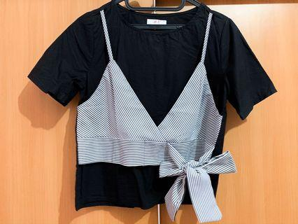 Black striped bow tops
