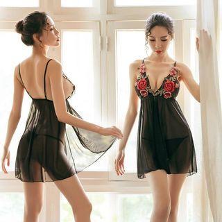 [READY STOCK] Flower Embroidery Transparent Babydoll Dress Sexy Lingerie Sexy Sleepwear Nightwear Baju Tidur Seksi