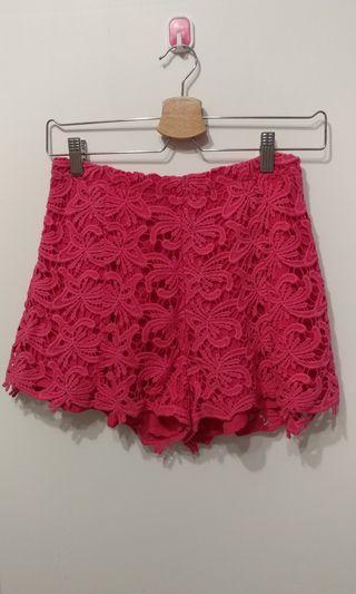 Pazzo 全新 雕花蕾絲 鏤空 褲子 內搭打底褲 柔軟細緻 桃粉色