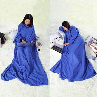 全新 冬季 保暖 羊毛毯子 懶人毯 袖毯 有袖子的毯子 大尺碼 藍色 ZK27602