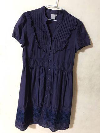 繡花淑女洋裝(深藍)
