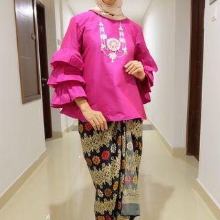 Atasan blouse pesta wanita pink fuschia