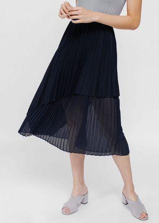Size S: Love Bonito Fillioe Asymmetrical Layered Pleated Midi Skirt