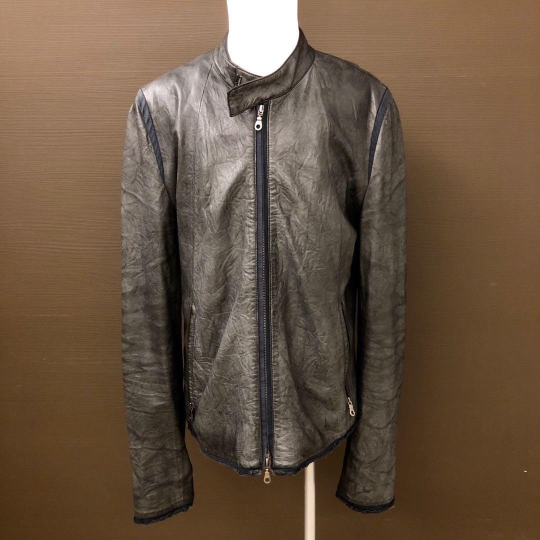 9成新現貨 Initial 100% leather Jacket Size4 純皮夾克 灰色皺褶造型秋冬款皮衣 潮牌