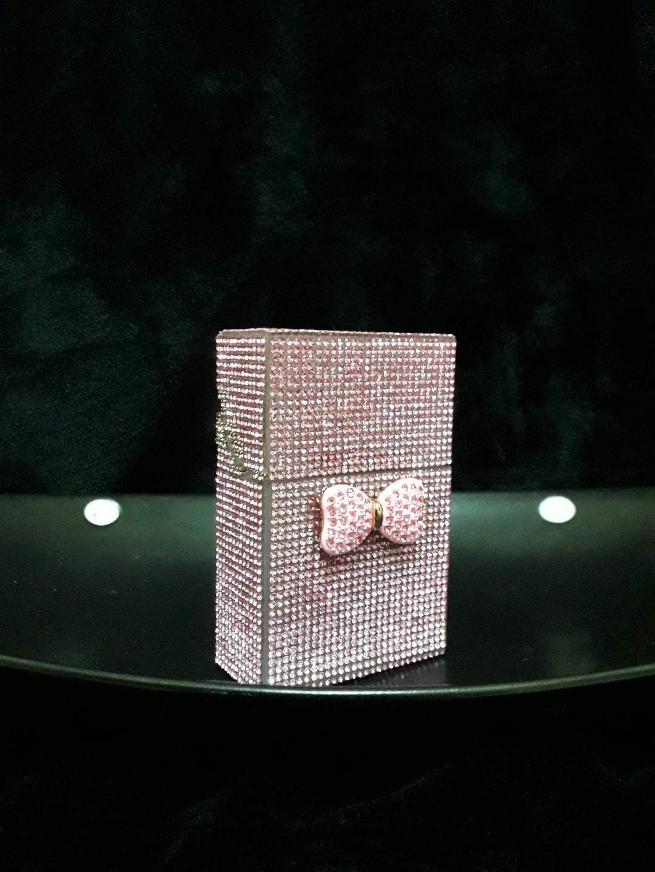 粉晶水鑽蝴蝶結造型打火機套組