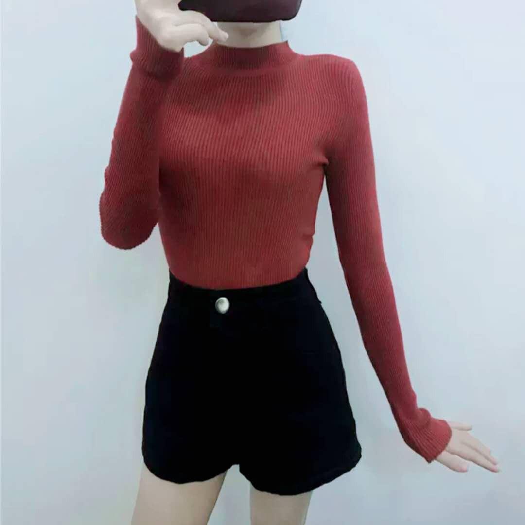 韓版半高領套頭毛衣打底衫女修身針織上衣長袖
