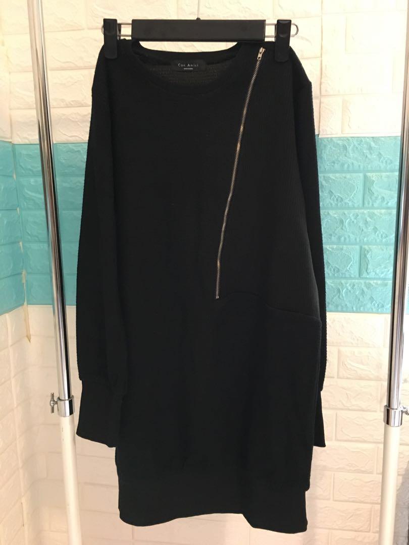 黑色長版衣