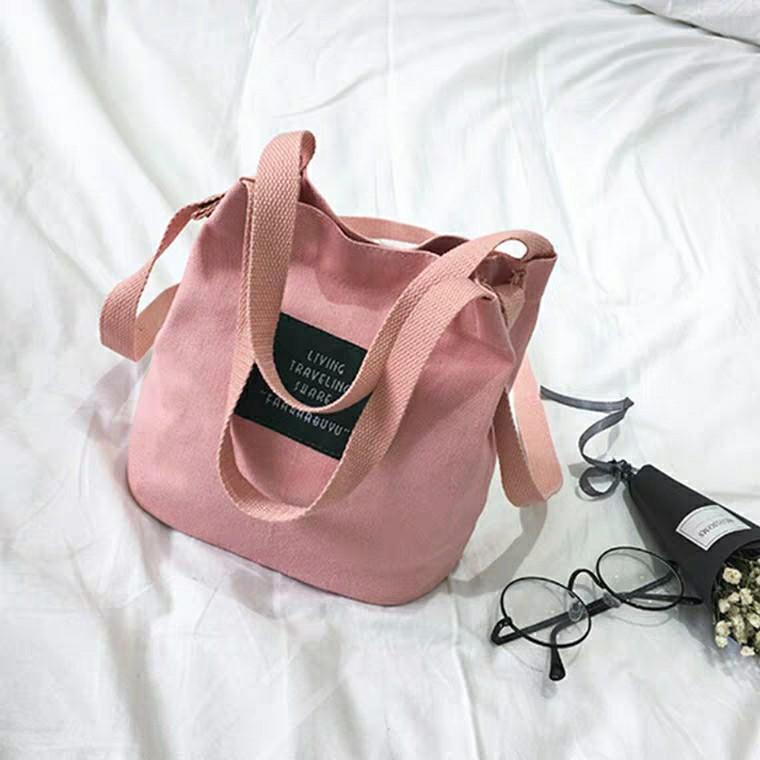 學院帆布包 粉紅色特價