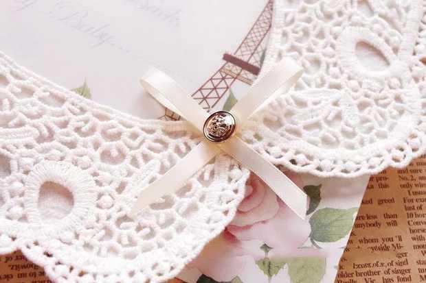 雕花蕾絲 荷葉精緻領子 假兩件 蝴蝶結寶石 水鑽 娃娃領