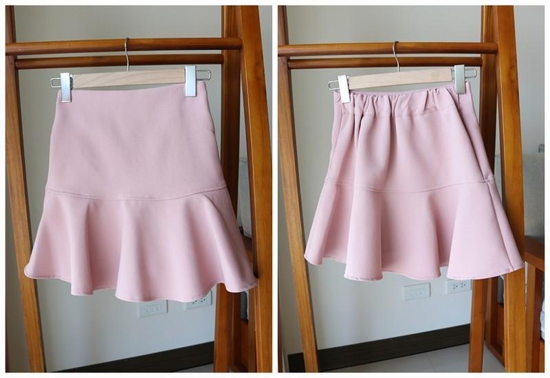 正韓 魚尾彈力 挺版褲裙 荷葉 後鬆緊腰圍 粉色